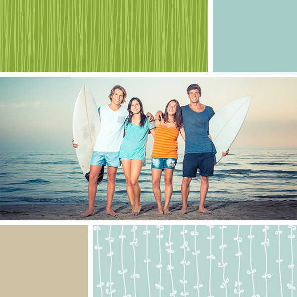 Photo collage of surfer friends in one cell and PicMonkey swatches in the other cells