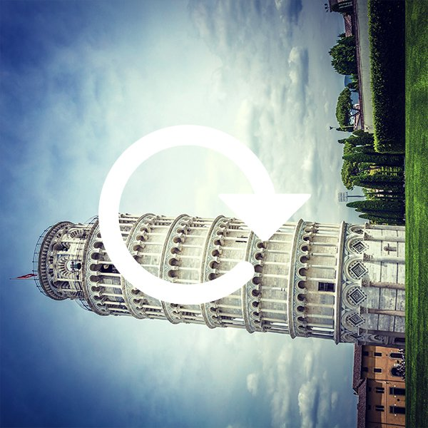 Sideways Leaning Tower of Pisa with rotate icon overlayed
