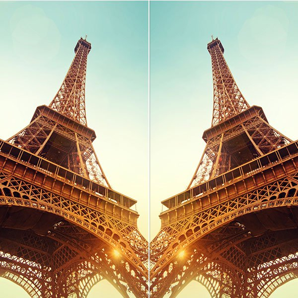 Two mirrored Eiffel Towers demonstrating PicMonkey's Rotate tool