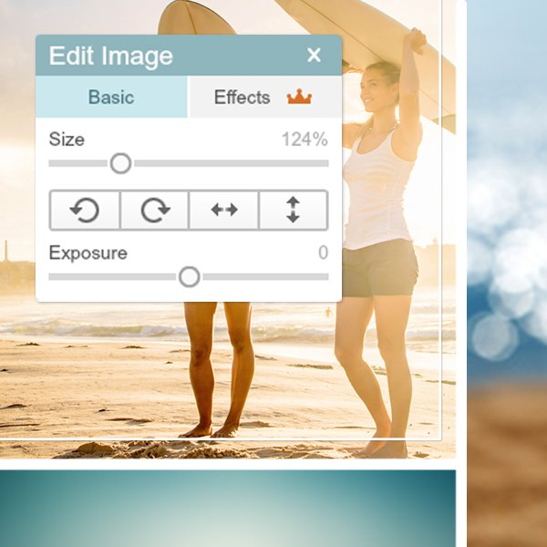 Photo collage cell with the image editing UI in PicMonkey